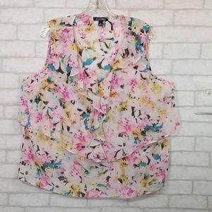 Roz&Ali floral Sleeveless ruffled blouse size XL